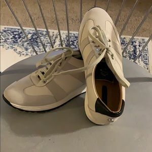 Longchamp leather and calf hair sneakers size 37